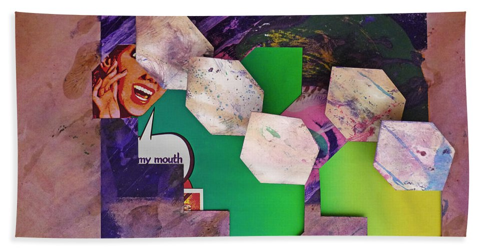 Psycho Bath Sheet featuring the mixed media My Mouth by Charles Stuart