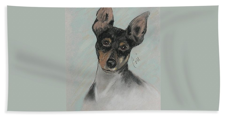 Toy Fox Terrier Hand Towel featuring the drawing My Oh My by Cori Solomon