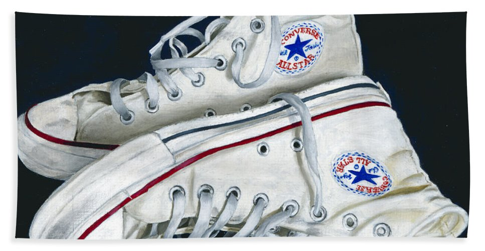 All Stars Hand Towel featuring the painting My Old All Stars by Rob De Vries