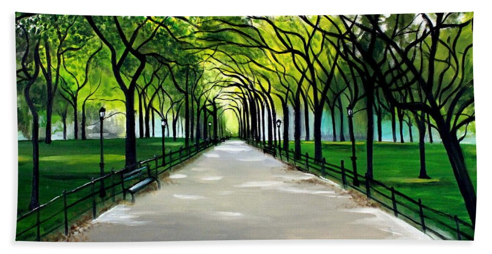 Landscape Hand Towel featuring the painting My Poet's Walk by Elizabeth Robinette Tyndall