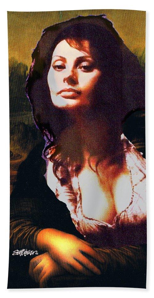 Mona Lisa Bath Towel featuring the digital art My Real Mona Lisa by Seth Weaver