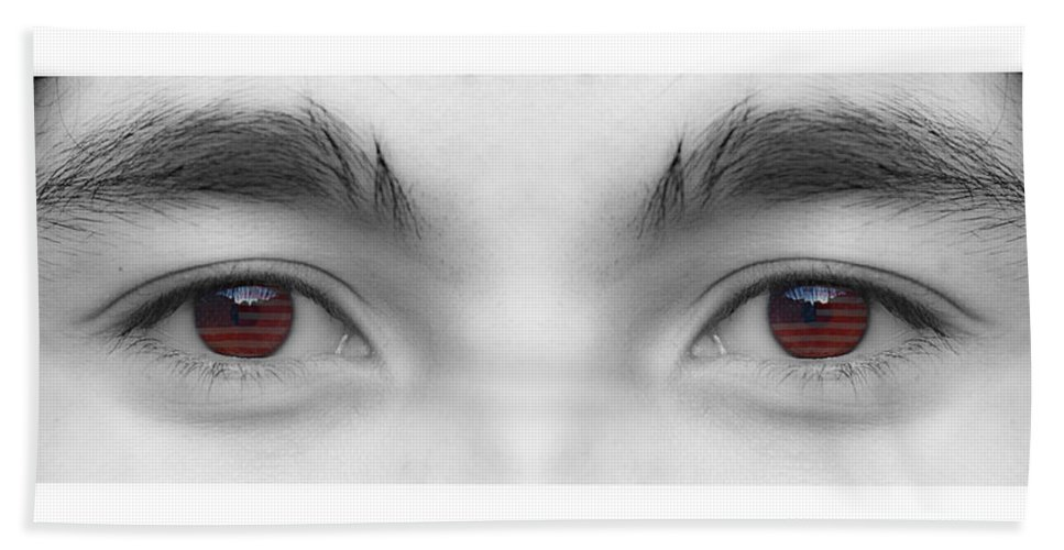 Eyes Bath Sheet featuring the photograph My Son's Eyes by James BO Insogna
