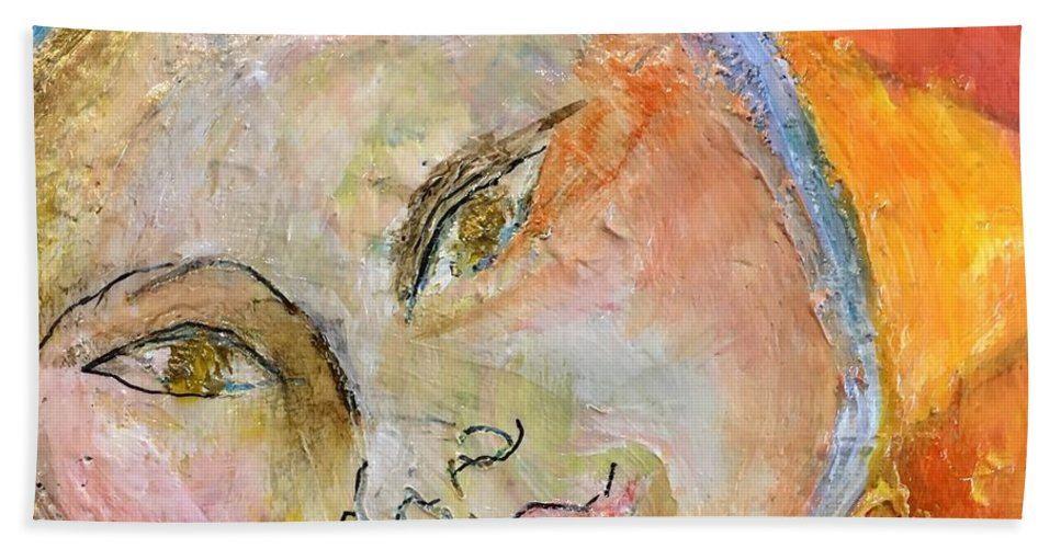 Sun Bath Sheet featuring the painting My Sunshine by Rosalinde Reece