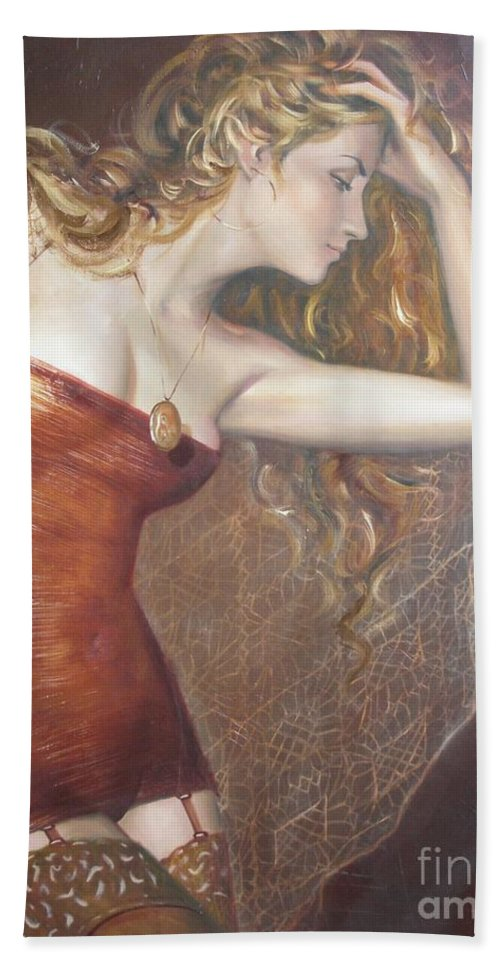 Ignatenko Hand Towel featuring the painting My Talisman by Sergey Ignatenko