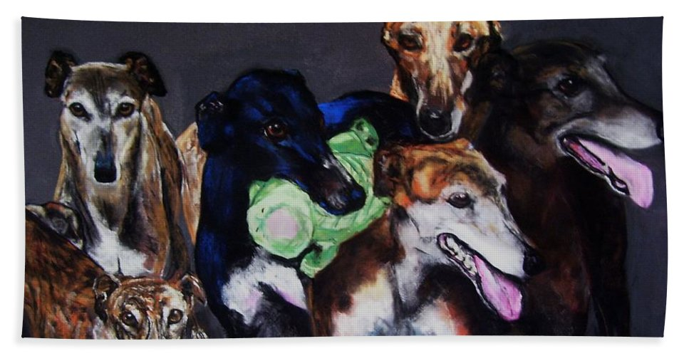 Greyhounds Bath Towel featuring the painting My Teachers by Frances Marino