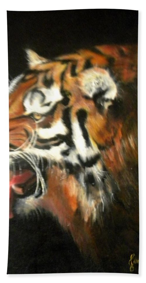 Tiger Bath Sheet featuring the painting My Tiger - The Year Of The Tiger by Jordana Sands