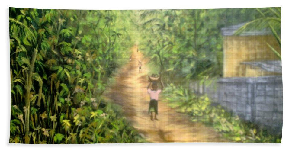Culture Hand Towel featuring the painting My Village by Olaoluwa Smith