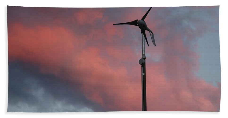 Wind Bath Sheet featuring the photograph My Wind Turbine by Jerry McElroy