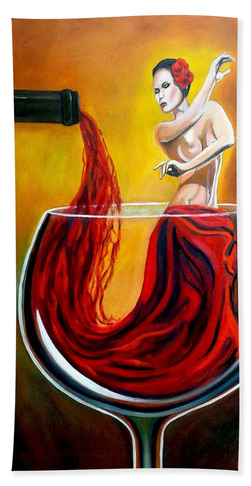 Wine Bath Towel featuring the painting My Wine Lady by Jose Manuel Abraham