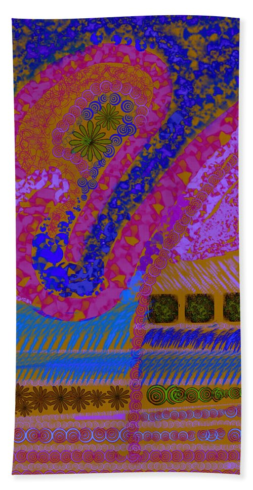 Abstract Colors Pinks Blues Fabricdesign Hand Towel featuring the digital art My Yard 2 by Suzanne Udell Levinger