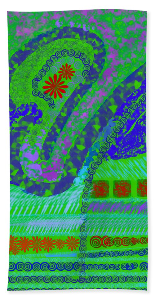 Abstract Colors Fabricdesign Blues Greens Hand Towel featuring the digital art My Yard 3 by Suzanne Udell Levinger