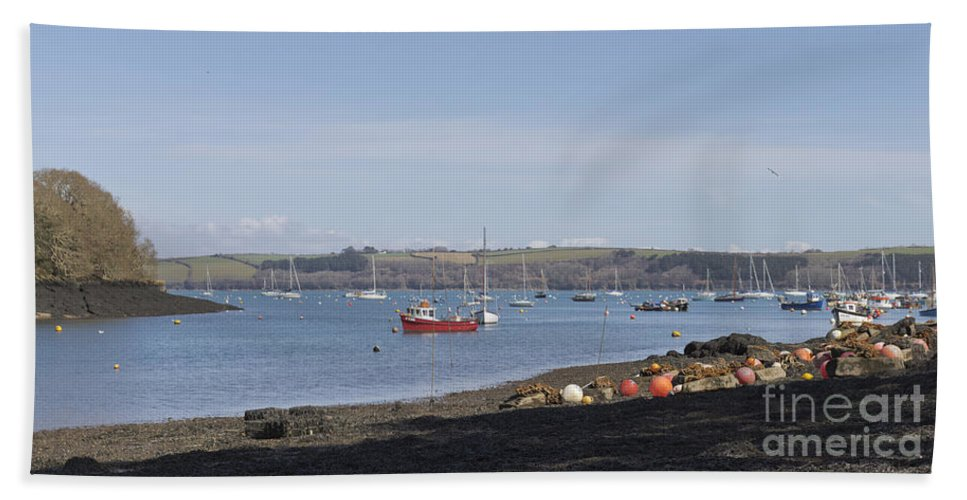 Water Hand Towel featuring the photograph Mylor Creek Panorama by Terri Waters