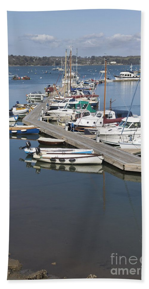 Mylor Hand Towel featuring the photograph Mylor Pontoon by Terri Waters