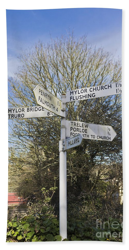 Mylor Hand Towel featuring the photograph Mylor Signpost by Terri Waters