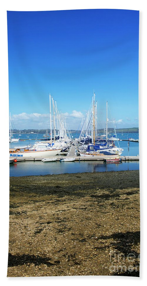 Mylor Hand Towel featuring the photograph Mylor Yacht Pontoon by Terri Waters