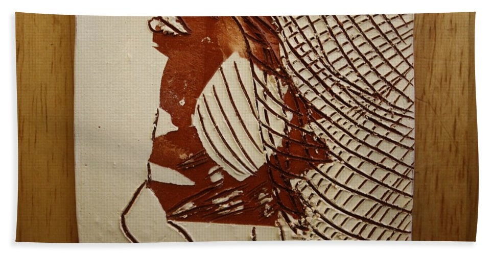 Jesus Hand Towel featuring the ceramic art Myra - Tile by Gloria Ssali