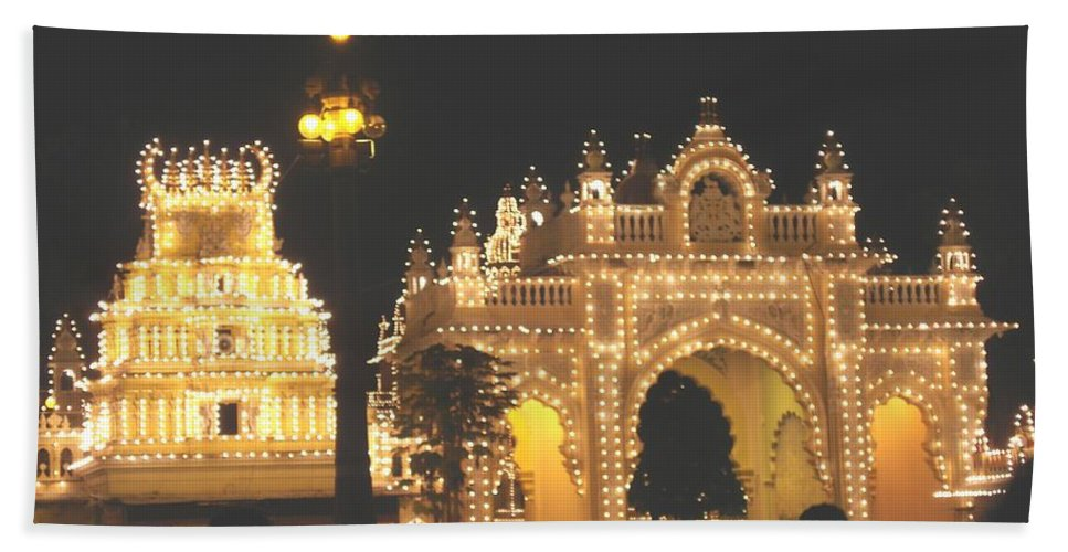 Mysore Bath Sheet featuring the painting Mysore Palace Main Gate Temple Gloriously Lit At Night by Usha Shantharam