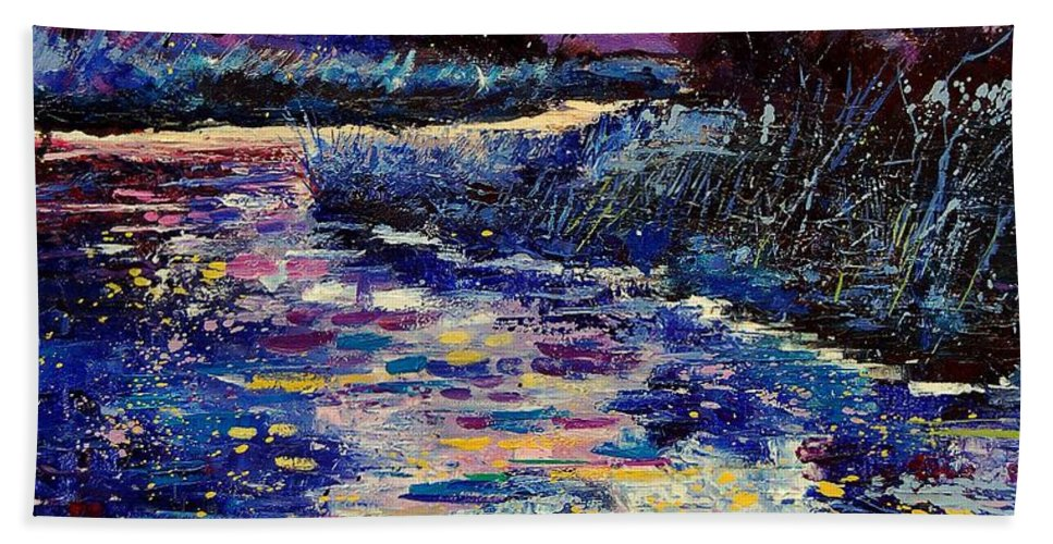 Water Hand Towel featuring the painting Mysterious Blue Pond by Pol Ledent