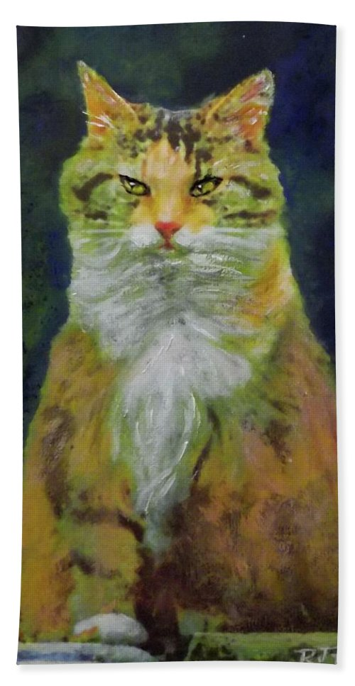 Cat Hand Towel featuring the painting Mysterious Cat by Richard James Digance