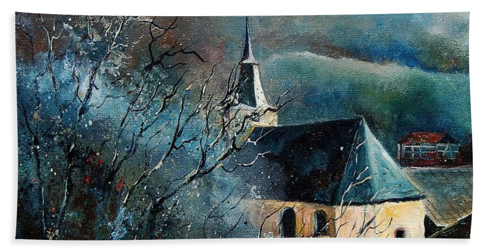 Tree Bath Towel featuring the painting Mysterious Chapel by Pol Ledent