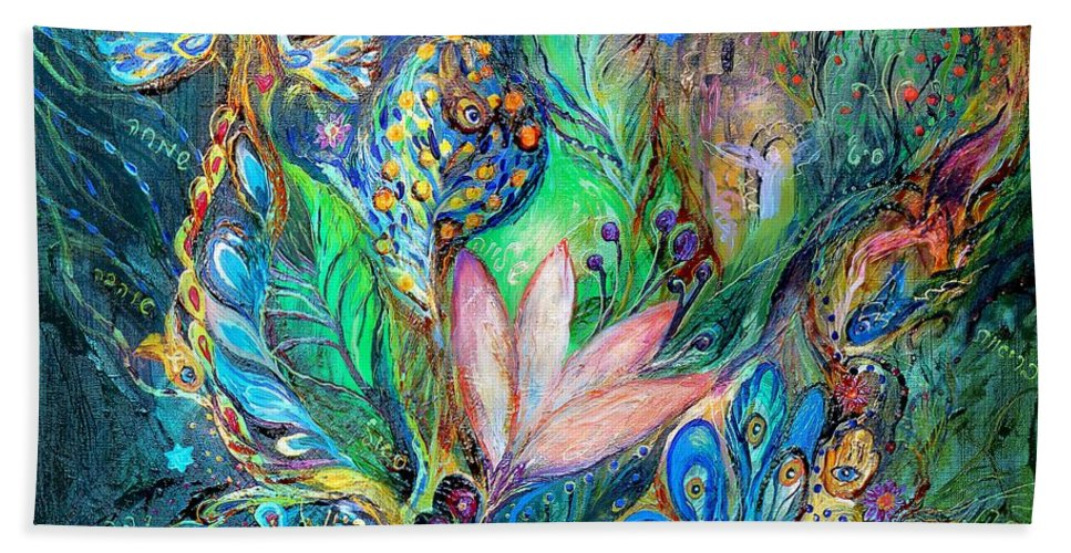 Original Bath Towel featuring the painting Mysterious Visitor by Elena Kotliarker