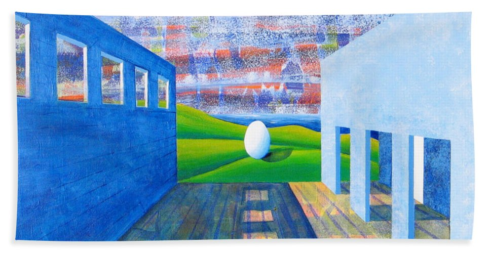 Surrealism Bath Towel featuring the painting Mystery And Memory by Rollin Kocsis