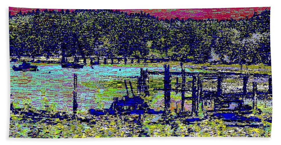 Mystery Bay Bath Sheet featuring the digital art Mystery Bay At Sunset by Tim Allen