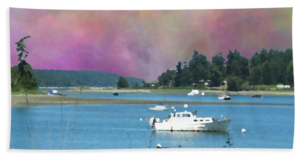 Mystery Bay Hand Towel featuring the digital art Mystery Bay by Tim Allen