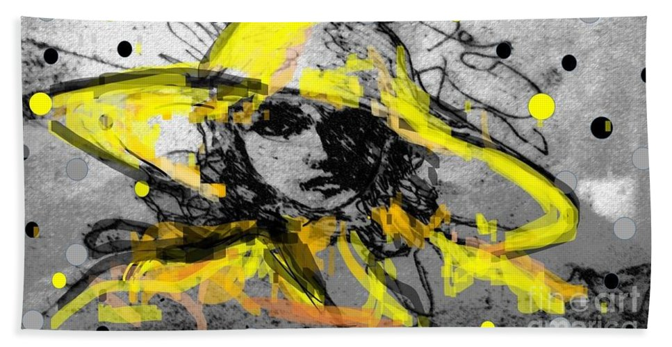 Mystery Lady Woman Grey Yellow Black Lady With Hat Dots Black Grey Yellow Hand Towel featuring the mixed media Mystery Lady by Liz Lafalce