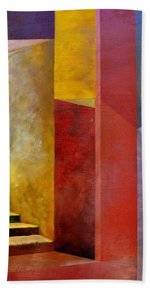 Gold Bath Towel featuring the painting Mystery Stairway by Michelle Calkins