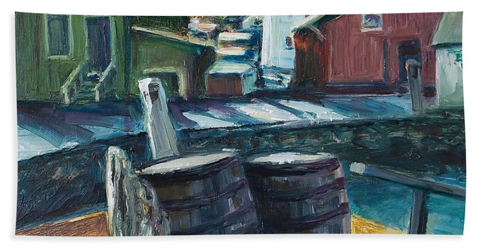 New England Bath Towel featuring the painting Mystic Harbor by Rick Nederlof