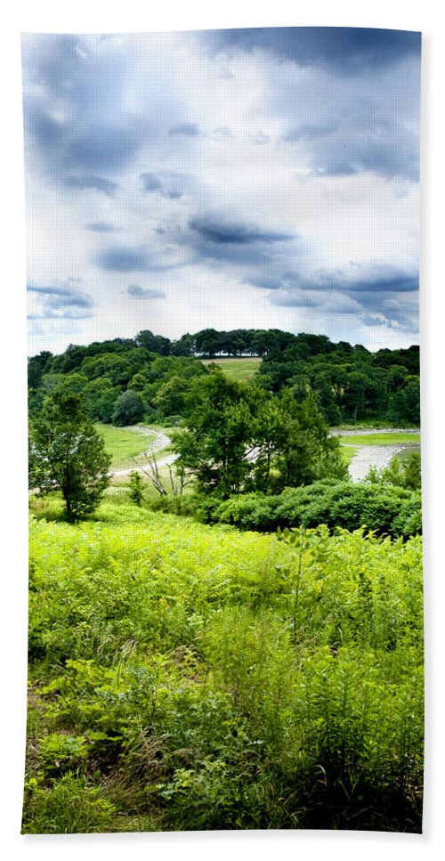 Nature Bath Sheet featuring the photograph Mystic Hillside by Greg Fortier