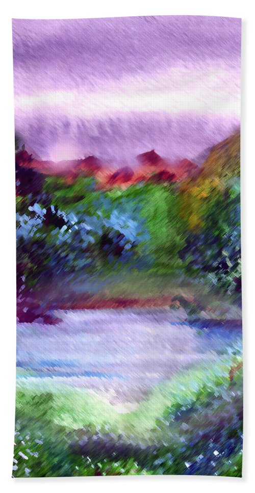 Lake Bath Towel featuring the painting Mystic Lake by Anil Nene