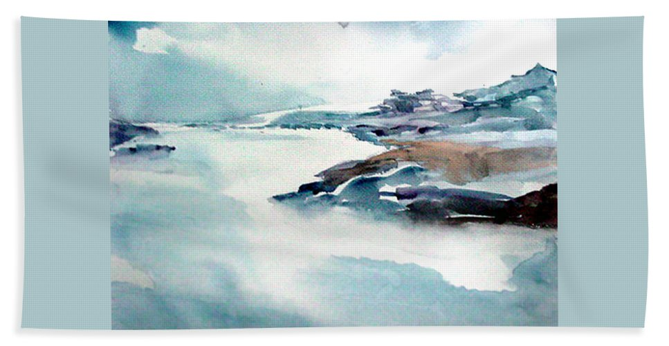 River Bath Sheet featuring the painting Mystic River by Anil Nene