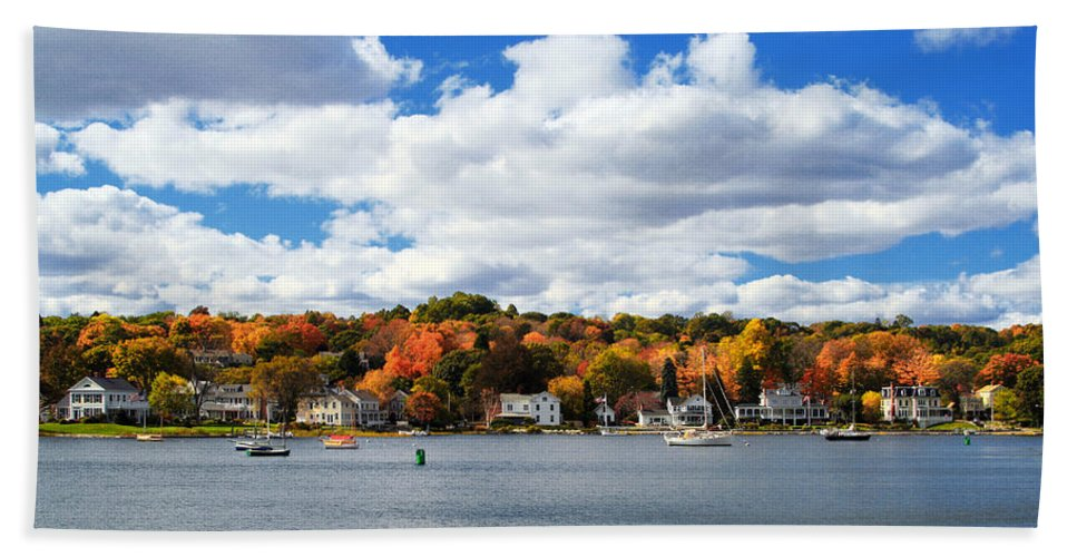 Mystic River Hand Towel featuring the photograph Mystic River In Autumn by Stephanie McDowell