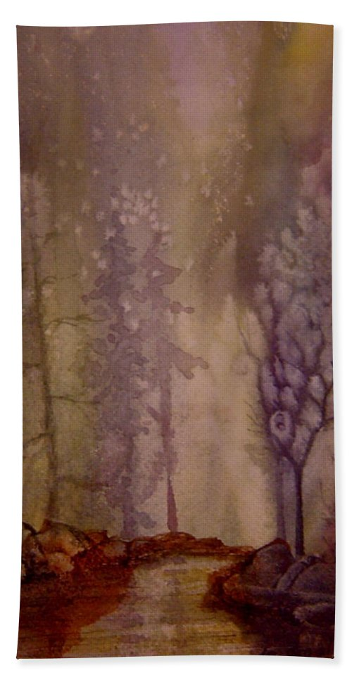 Mystic Forest River Bath Towel featuring the painting Mystic River by Joanne Smoley