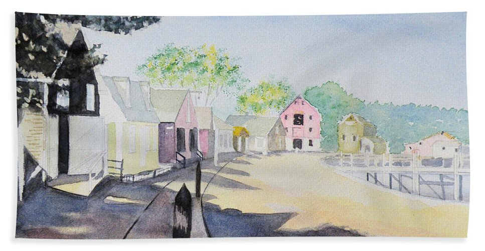 Painting Bath Sheet featuring the painting Mystic Seaport by Gilbert Pennison