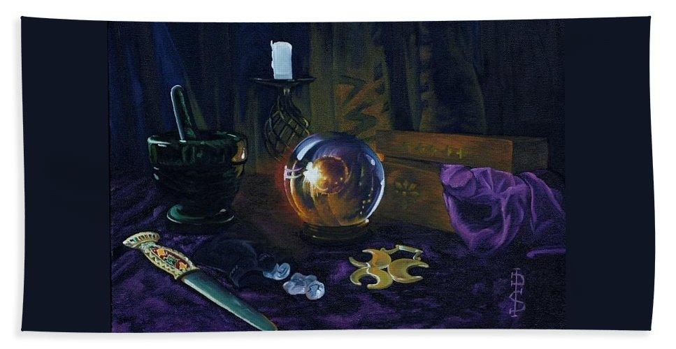 Still Life Mystic Crystal Ball Pestle Mortar Knife Runes Horse Brasspuple Silk Candle Bath Sheet featuring the painting Mystic Still Life by Pauline Sharp