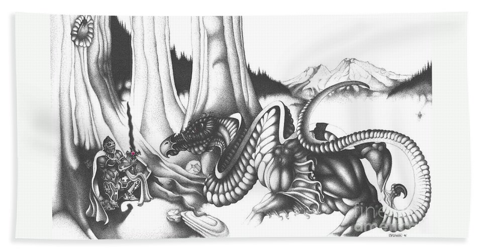 Dragon Bath Sheet featuring the drawing Mystical Riverbed by Devaron Jeffery