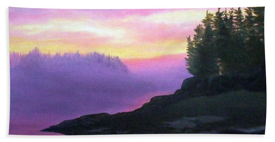 Sunset Bath Towel featuring the painting Mystical Sunset by Sharon E Allen