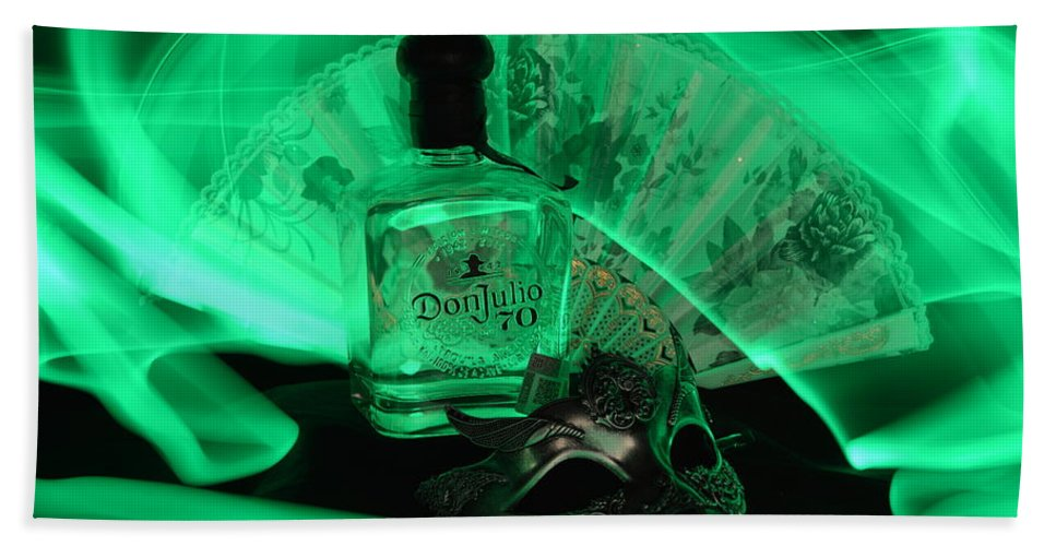 Bottle Bath Towel featuring the photograph Mystique Green by Paulina Roybal