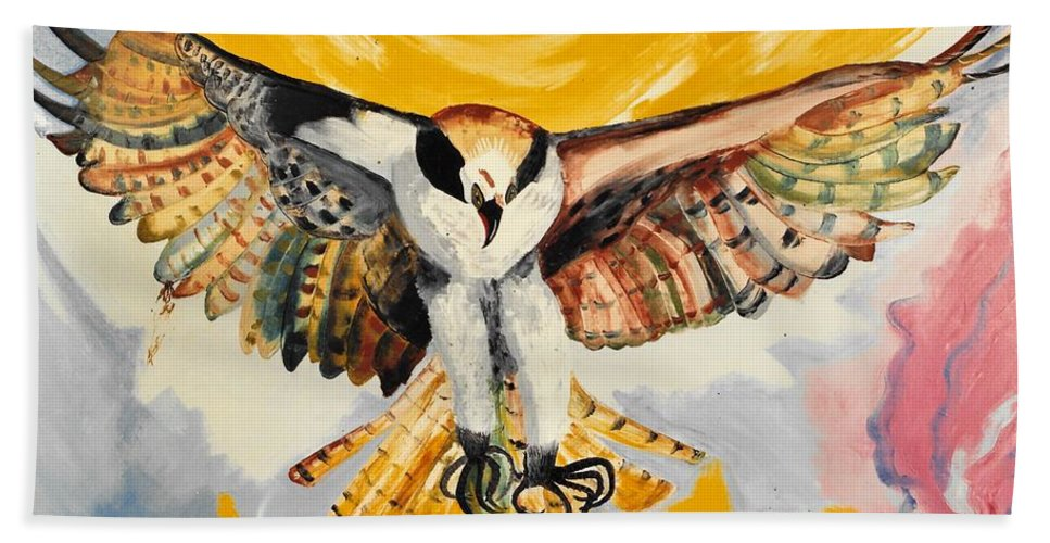 Mythical Eagle Perching Oil Painting Hand Towel featuring the painting Mythical Eagle Perching Oil Painting by Preciada Azancot