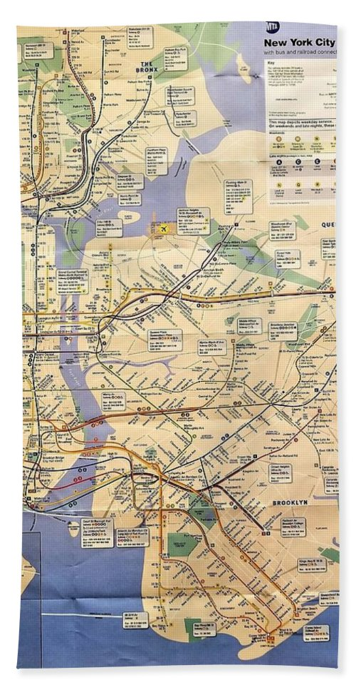 New York City Hand Towel featuring the photograph N Y C Subway Map by Rob Hans