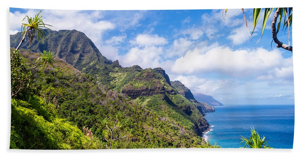 Na Pali Coast Hand Towel featuring the photograph Na Pali Coast Kauai by Brian Harig