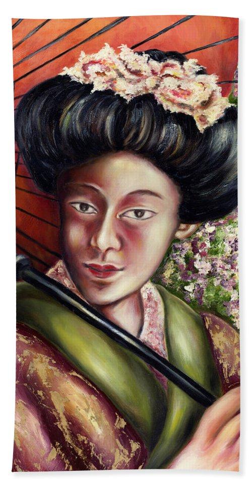 Japanese Hand Towel featuring the painting Nadeshiko by Hiroko Sakai