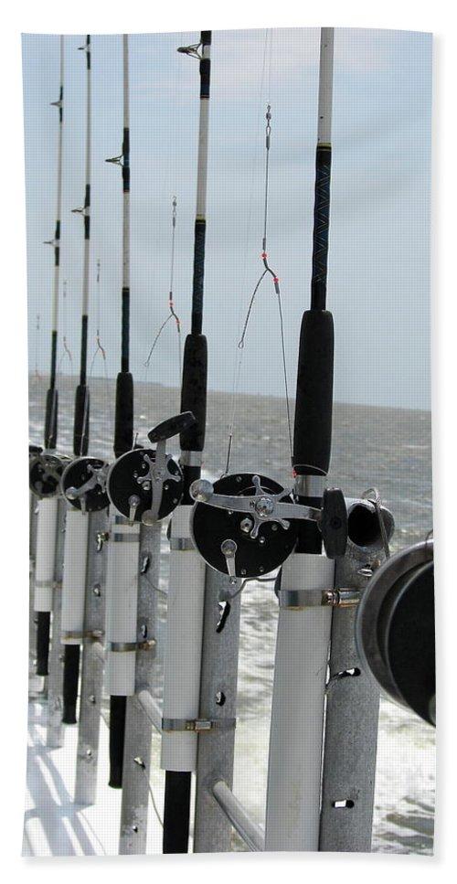 Nags Head Bath Towel featuring the photograph Nags Head NC Fishing Poles by Brett Winn