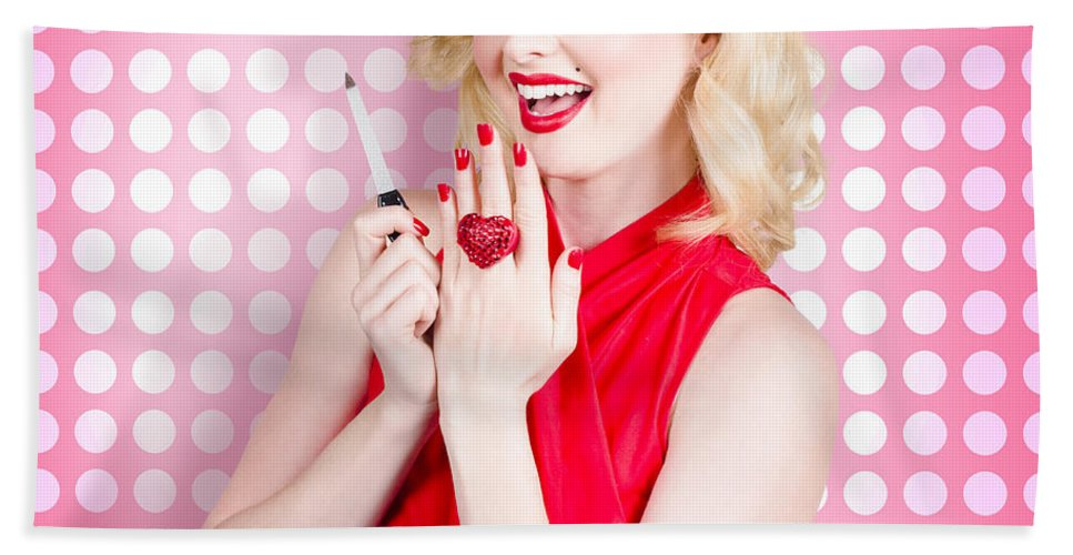 Nail Hand Model. Retro Pinup Girl With Red Nails Bath Towel for Sale ...