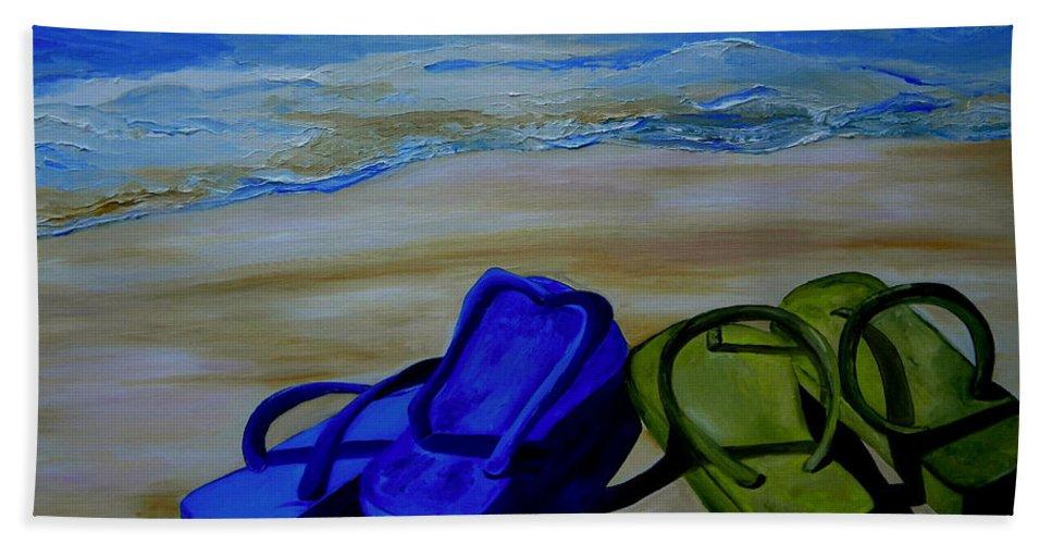 Flip Flops Bath Sheet featuring the painting Naked Feet On The Beach by Patti Schermerhorn