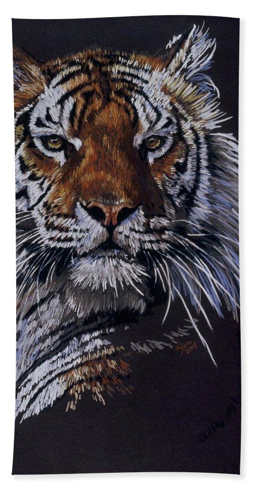 Tiger Bath Sheet featuring the drawing Nakita by Barbara Keith