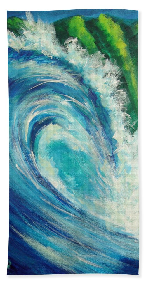 Surf Bath Sheet featuring the painting Nalu by Hanako Hawaii